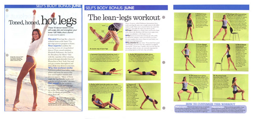 Toned, honed, hot legs, Self Magazine, June 2004