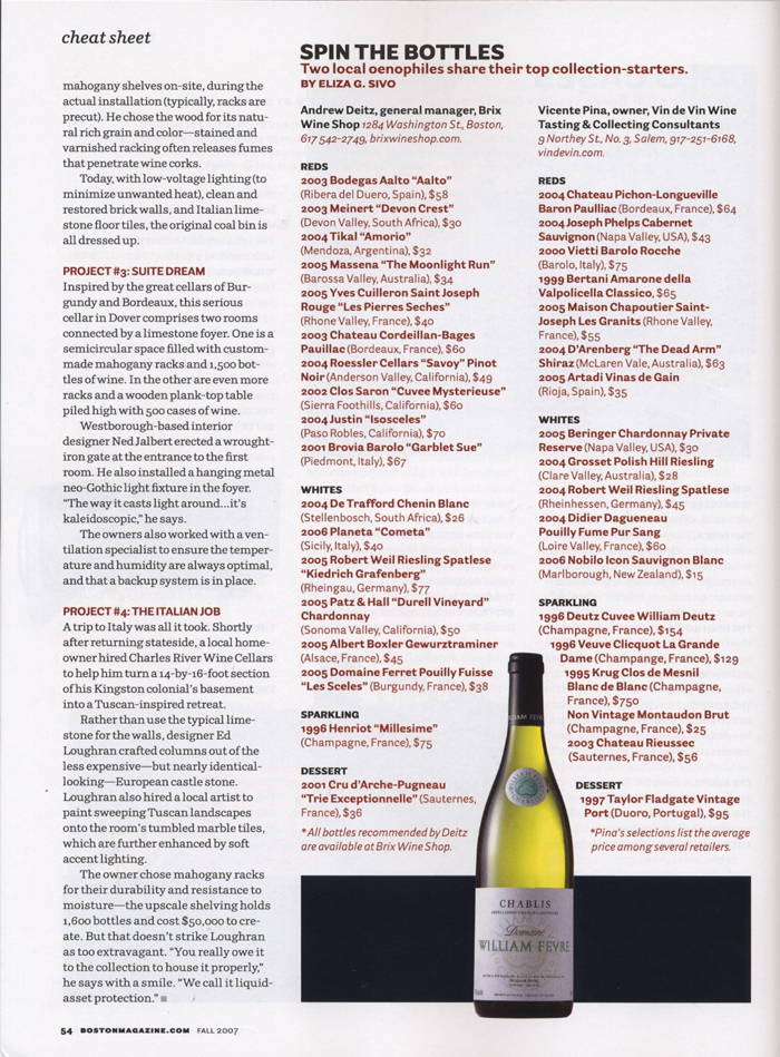 Stellar Cellars, Boston Magazine, Fall 2007, Page 54